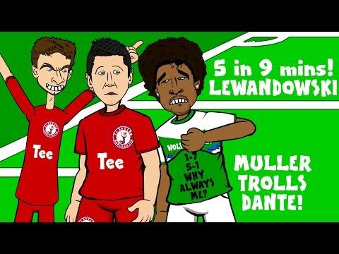 LEWANDOWSKI scores 5 goals in 9 minutes! (FC Bayern 5-1 Wolfsburg – Muller trolls Dante prank)