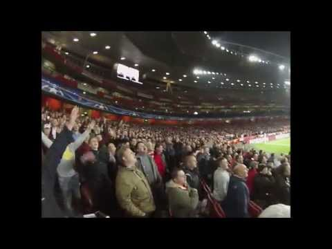 Arsenal fans footage vs Bayern Munich, Live first goal + Giroud's song !
