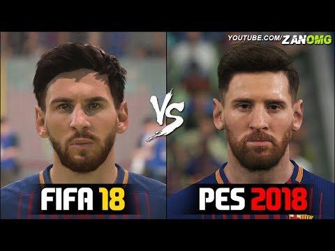 FIFA 18 vs PES 2018 | FC Barcelona Players Faces Comparison