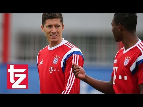 """Robert Lewandowski"": Erstes Training beim FC Bayern – First Training Session Bayern Munich"