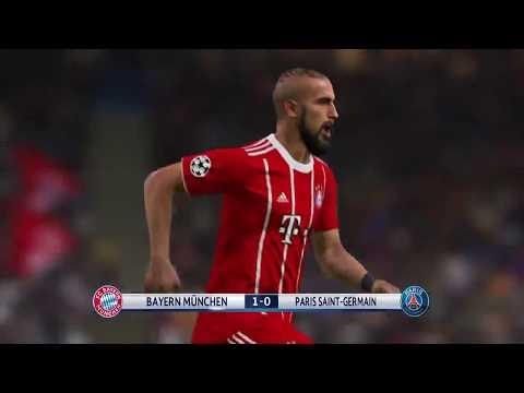 PES 2018 – Bayern Munich vs PSG full match gameplay TV camera HD60fps
