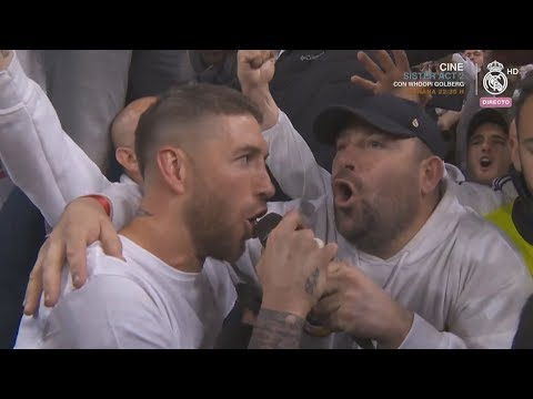 SERGIO RAMOS SINGS WITH FANS AFTER REAL MADRID vs BAYERN MUNCHEN