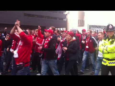 Manchester City vs Bayern Munich – Munich fans march in city centre